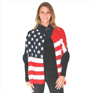 Chic American Flag Print Cape